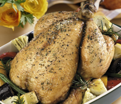 Honey Glazed Roast Chicken with Sage Apple Stuffing