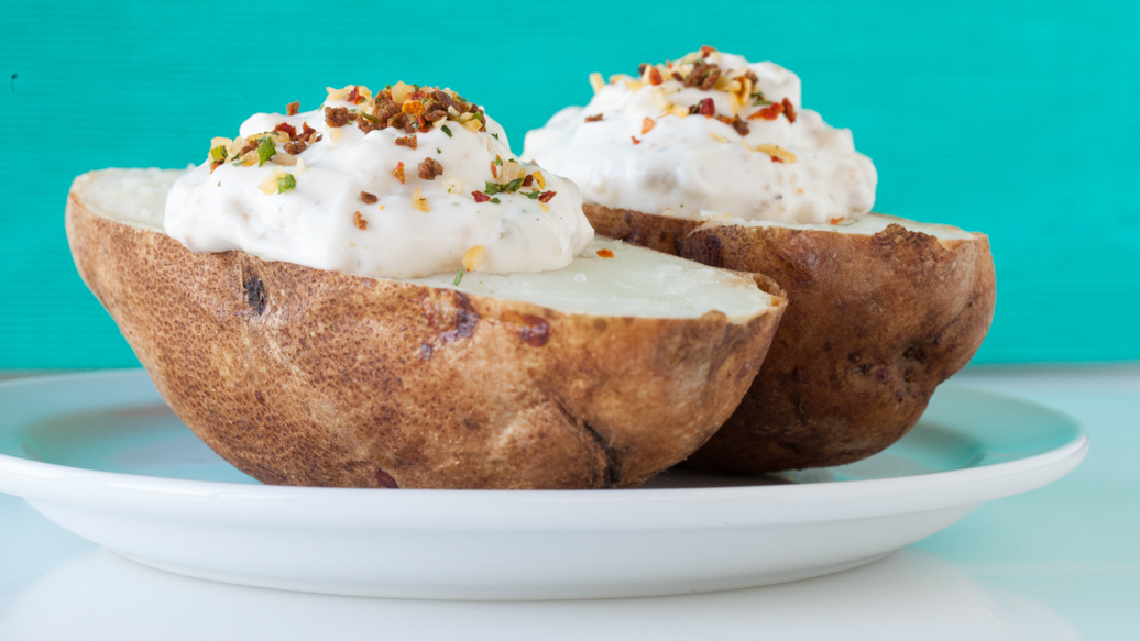 Baked Potatoes with Cheese, Chives & Bacon Dip