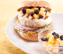Chicken Burgers with Mango and Blueberry Salsa