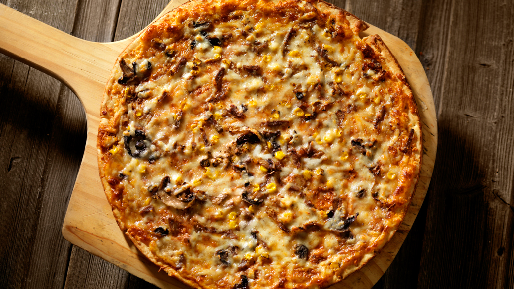 Steak, Mushroom and Cheese Pizza