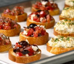 Crostini with Goat Cheese, Tomatoes and Tapenade