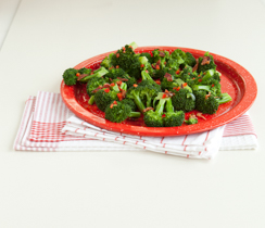 Steamed Broccoli with Warm Maple Bacon Dressing