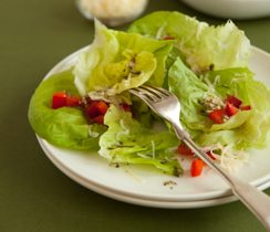 Salad with Warm Herb & Garlic Dressing