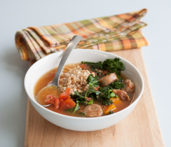 Squash, Farro and Turkey Sausage Soup