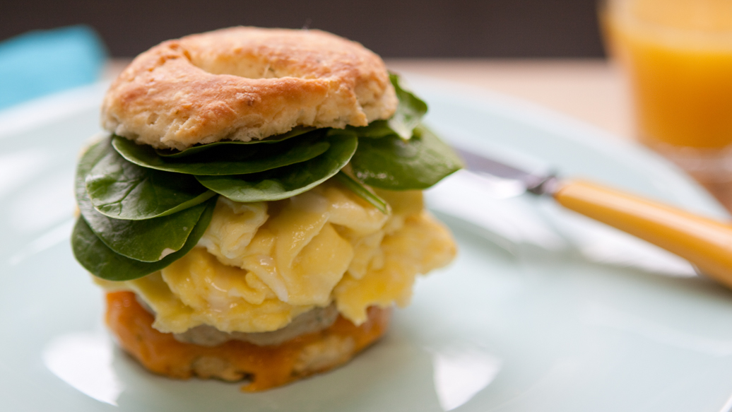 Sausage and Egg Biscuit Breakfast Sandwich