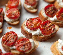 Hot Artichoke Dip and Oven-roasted Tomato Bruschetta