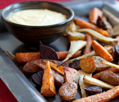 Roasted Root Vegetables with Saffron Garlic Aioli