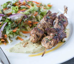 Roasted Kamouraska Lamb Brochettes and Curried Crème Fraîche