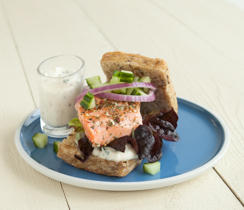 Grilled Salmon Burger with Cucumber and Lemon Dilly Sauce