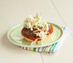 Rancho Bean, Mushroom and Feta Burger with Smoky Slaw