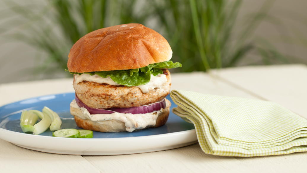 Montreal Chicken Burger with French Onion Sauce