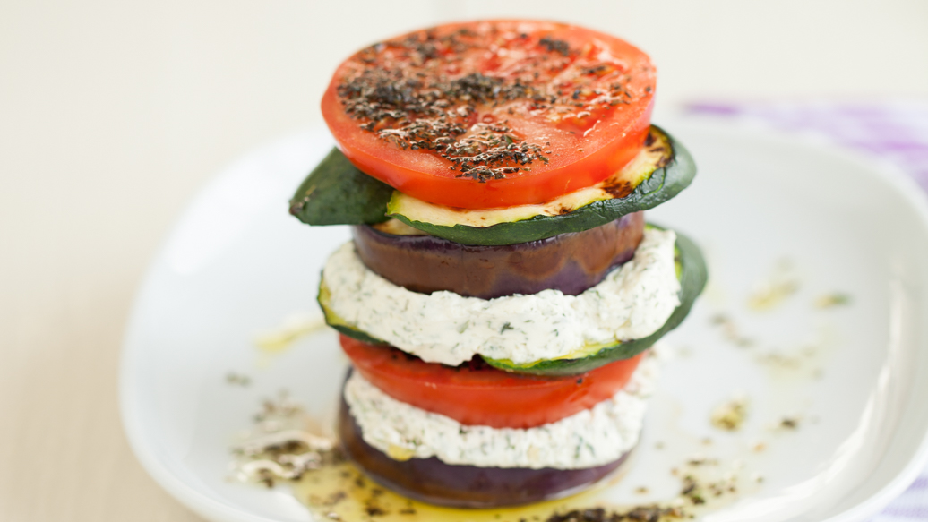 Grilled Zucchini and Eggplant Stacks