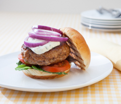 Big Batch Spicy Buffalo Chicken Burgers