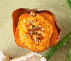 Cheese, Chive & Bacon-stuffed Yams