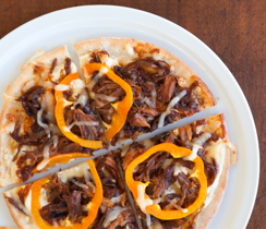 Pulled Pork & Blackened Onion Pizza