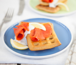 Lemon Dilly Smoked Salmon Waffles