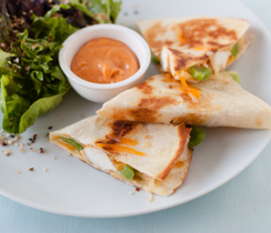 Bali Chicken Quesadillas with Sriracha Aioli