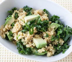 Kale Quinoa salad with Mango Curry Vinaigrette