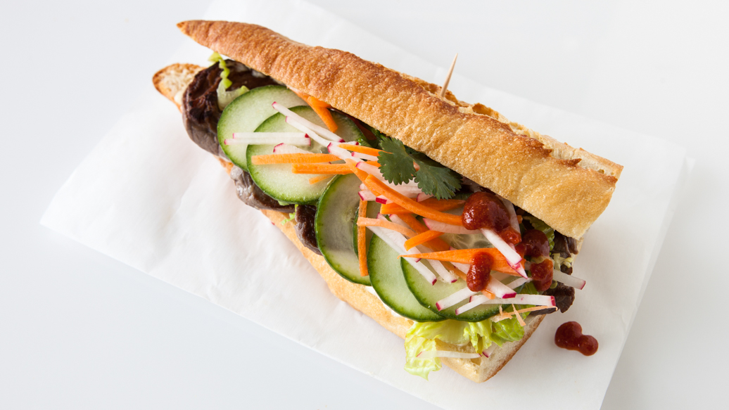 Pork Banh Mi with Sriracha Aioli