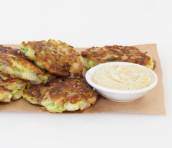 Zucchini Fritters with Lemon Basil Aioli