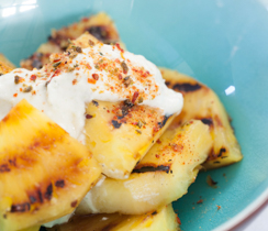 Spicy Grilled Pineapple with Sweet Coconut Lime Dip