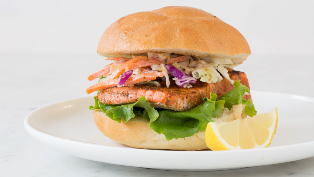 Fish Burger with Savoury Coleslaw