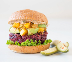 Beet Burger with Avocado Peach Salsa