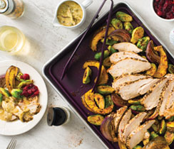 Sheet Pan Turkey, Crispy Brussels Sprouts & Squash