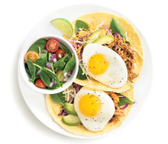Pulled Chicken Breakfast Tostadas