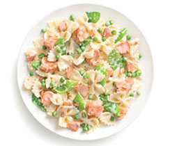 Salmon Alfredo Bowties