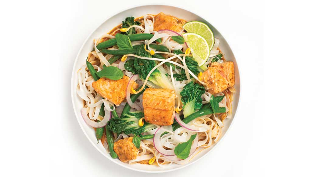 Thai Red Curry Salmon Noodle Bowl