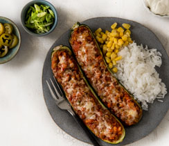 Sloppy Joe Zucchini Boats