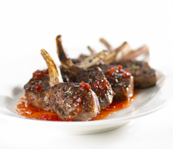Grilled Lamb Chops with Pepper Jelly